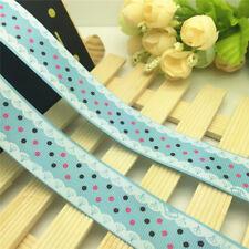 NEW DIY 5  Yards 1'' 25mm lace Dot Printed Grosgrain Ribbon Hair Bow Sewing