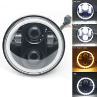 """5.75"""" Motorcycle Projector LED Headlight DRL Halo angel eyes for Harley"""