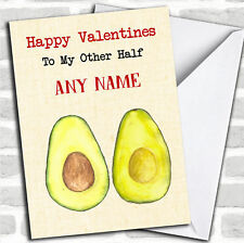 Funny Avocado Other Half Valentines Personalized Greetings Card