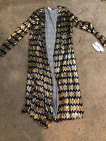 NWT LulaRoe Small Sarah Metallic Chevron Elegant Long Duster Cardigan Sweater