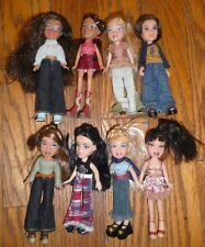 Lot of 8 LIL BRATZ DOLLS Clothes DRESSED & Hair Combed CASE Clothes shoes MGA