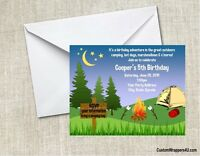 Camping Camp Campfire Birthday Party Invitations Personalized Custom