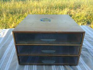 WF - Ancienne Boîte de Mercerie en bois à 3 tiroirs
