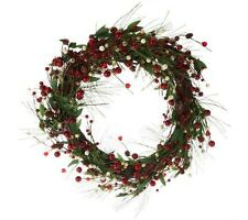 """$54 Grapevine Ivory,Red Berry Wreath, Evergreen Sprigs 22"""" by Valerie Parr Hill"""