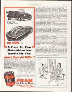 "FRAM Oil and Motor Cleaner Filter 1947 Vintage Print Art Advert 10.5"" x 13.75"""