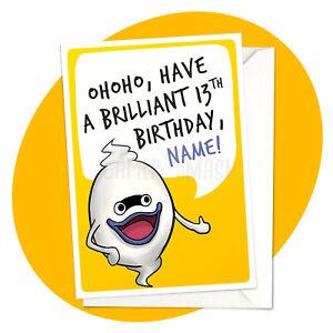 Wisper Wishes - PERSONALISED BIRTHDAY CARD - yokai watch yo-kai personalized