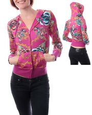 Stylish Purple Long Sleeve Printed Roses Tiger Rhinestone Sweater Blouse Size M