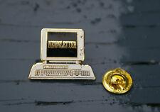 Newsletter Retro Computer Screen Gold Tone Metal & Enamel Lapel Pin Back Pinback