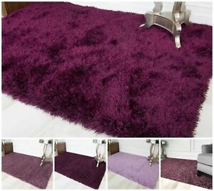 Cosy Thick Soft Purple Shaggy Rug Fluffy Mauve Violet Anti Shed Living Room Rugs