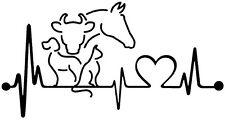 2 Aufkleber Hund Katze Kuh  Pferd Herzschlag Auto Sticker Decal 17 cm JDM