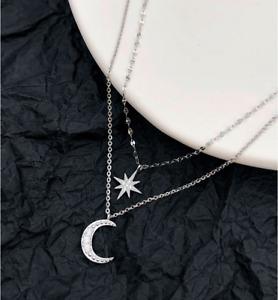 Star Moon CZ Layering Pendant 925 Sterling Silver Choker Necklace Women Box PE55