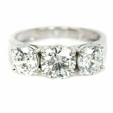 Engagement Ring In 925 Sterling Silver 3Ct Round Near White Moissanite 3 Stone