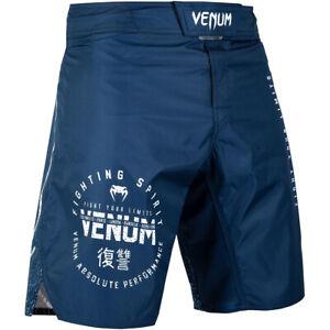 Venum Signature MMA Fight Shorts - Navy Blue/White