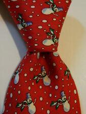 VINEYARD VINES Martha's Boys Youth Silk Necktie Luxury SNOWMAN CHRISTMAS Red GUC