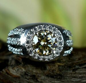 Engagement Gift Champagne Diamond Solitaire Halo 3.85 Ct Certified Men's Ring