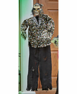 Lighted Animated Ghoulish Skeleton Dressed In Camo Outdoor Halloween Decoration
