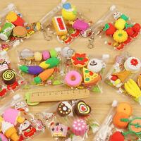Durable 4Pcs Cake Hamburger Food Drink Fruit Rubber Eraser Set School Stationery