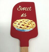 NEW Williams Sonoma Silicone Spatula Sweet as Pie Red Beech Wood