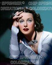 HEDY LAMARR WEARING JEWELED CHOCKER 8X10 BEAUTIFUL COLOR PHOTO BY CHIP SPRINGER