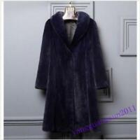 Luxury Mink Fur Long Womens Coats Lapel Thicken Winter Jackets Warm Parkas Chic