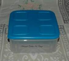 Tupperware Clear Mates Medium Square SIZE 2 Container Blue Lid