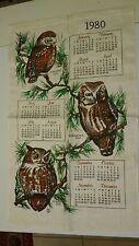 Vintage 1980 OWL Kitchen Dish towel Hanging Calendar