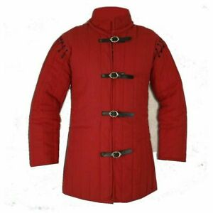 HALLOWEEN GIFT Medieval Thick Padded Red Gambeson Play Movies Custome Sca
