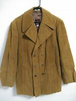 Men's 40R Europe Craft Import Brown Corduroy Double Breasted Sport Coat Jacket