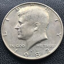 1982 P Kennedy Half Dollar 50c No FG Missing Designer Initials Error Rare #16895