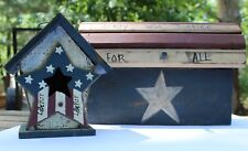 Patriotic Fourth of July Americana Primitive Home Decor Handmade Trunk Mailbox