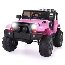 12V Kids Ride On Car  Jeep Racing Battery Power Wheels Electric Music Light Pink