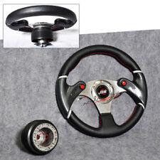 For Camry Corolla 320MM Steering Wheel + Hub Adapter Black Horn JDM 6-Hole