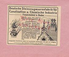 FRIEDRICHSFELD, Werbung 1914, Deutsche Steinzeugwaren-Fabrik Kanalisation