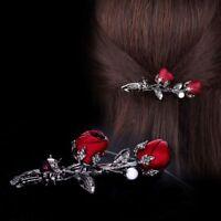 Crystal Hair Clip Stereoscopic Rose Flower Headwear Simulated Pearl Barrettes