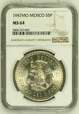 1947 MO Mexico 5 Pesos NGC MS64 Cuauhtemoc - Silver Gem Uncirculated Very Nice!
