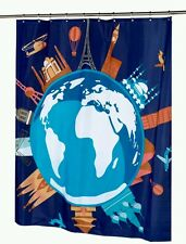 "NIP CARNATION HOME FASHIONS ""OUR WORLD"" World Print Fabric Shower Curtain 70X72"