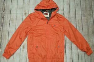 Levis Mens 100% Polyester Rain Wind Hooded Jacket Orange Size Medium L@@K