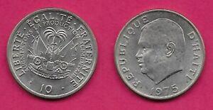 HAITI 10 CENTIMES 1975 XF PRES.JEAN-CLAUDE DUVALLIER LEFT,NATIONAL ARMS