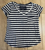 Abercrombie & Fitch Women's T Shirt Blue White Striped XS Cotton Blend