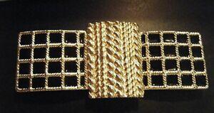 """ALEXIS KIRK Gold Tone Metal Braided Rope Black Enamel Buckle for 1.5"""" wide Belt"""
