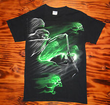 90s Vintage Biker T shirt Grim Reaper Neon Green Screaming Skulls Size X-Small