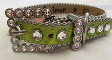 BB SIMON BRIGHT GREEN HAIR ON LEATHER DOG COLLAR- CLEAR SWAROVSKI STONES SMALL