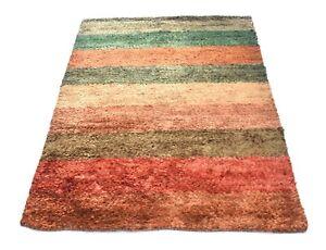 Traditional Home Decor Carpet Non-Slip Jute Shaggy Rug 4x6 Feet Dhurrie DN-1687