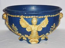 "Weller Very Large Blue Ware Jardiniere Angels (8 1/4"" Tall 14 1/4"" Dia)"