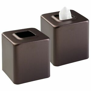 mDesign Modern Square Metal Paper Facial Tissue Box Cover Holder, 2 Pack, Bronze