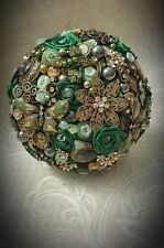 Vintage Emerald Green Wedding Bridal Brooch Bouquet