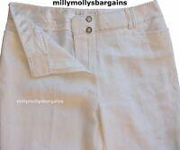 New Womens Marks & Spencer White Wide Leg Linen Trousers Size 12 Short DEFECT
