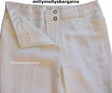 New Womens Marks & Spencer White Wide Leg Linen Trousers Size 12 Short DEFECT