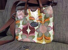 Fossil Bag Cross Body Messenger Pink Greeen Mustard Floral Brown Strap