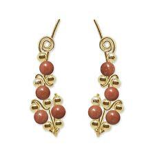 Ear Climbers Ear Crawlers Sweeps Earrings Gold w/ Goldstone Gemstone Beads #244